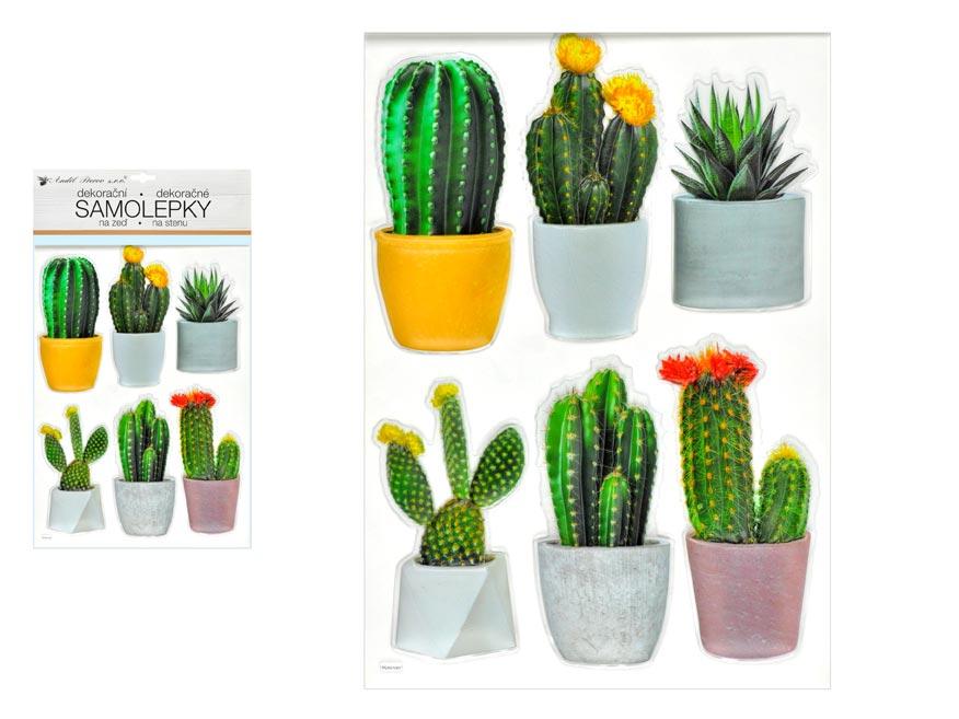 Anděl samolepiaca dekorácia 10481 plastická 3D kaktusy 29 x 49 cm
