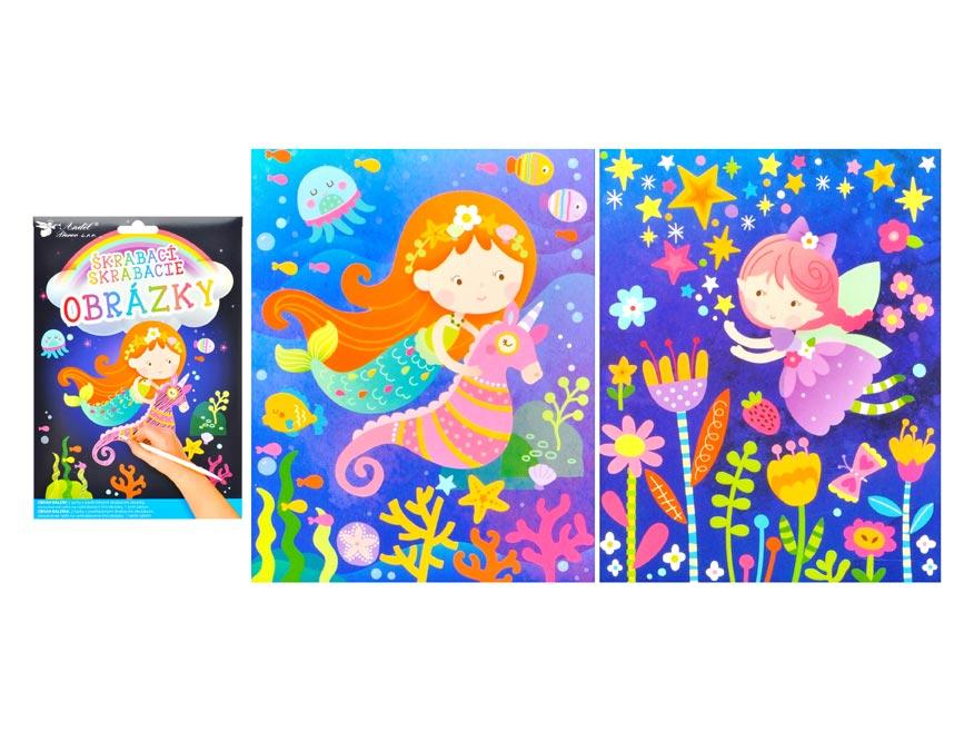 Škrabací obrázok 6622 2 archy 16,5 x 21 cm MORSKÁ PANNA