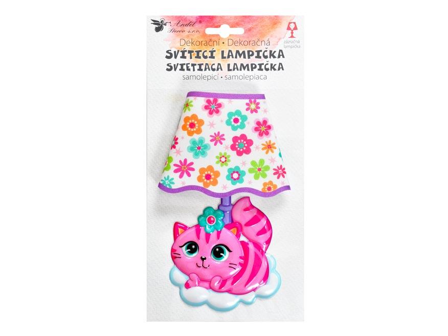 Samolepiaca dekorácia 10541 svietiaci LED lampička mačka 19 cm