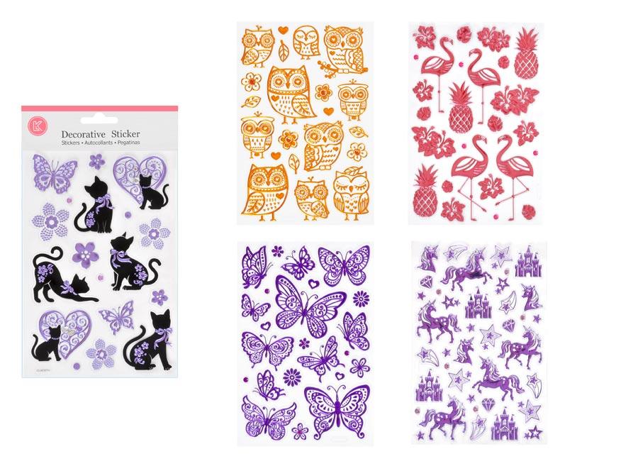 Wiky samolepky W002655 14,5 x 26 cm MIX zvieratá lesk