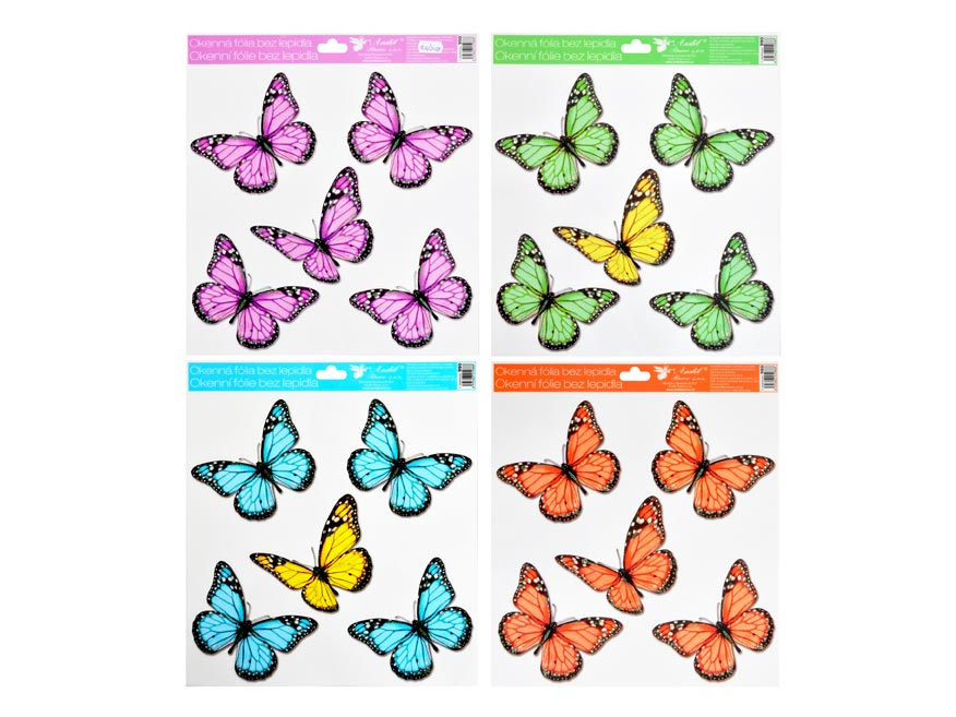 Okenná fólia 990 s glitre motýle 30x33,5 cm