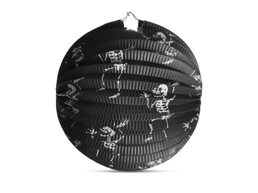 Lampión Halloween guľatý - kostlivci, 25 cm