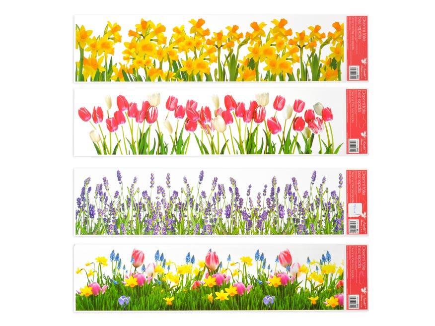 Okenná fólia 992 pruhy kvety 64x15 cm