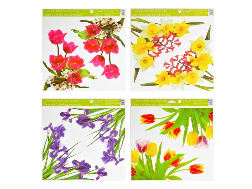 Okenná fólia 993 rohová kvety s glitrami, 30x33,5 cm