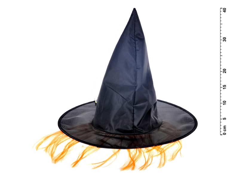 Klobúk čarodejnícky M02 čierny s vlasmi 36x30cm