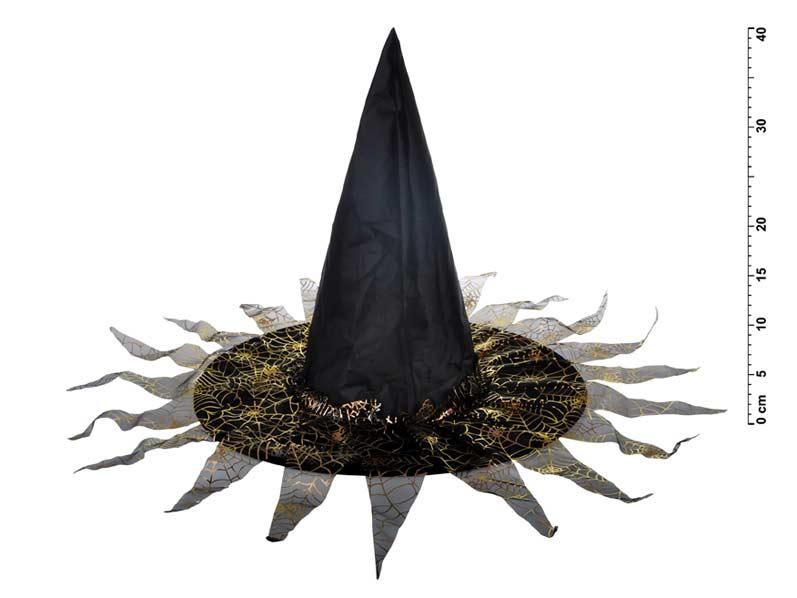 Klobúk čarodejnícky M03 čiernozlatý 40 x 34 cm