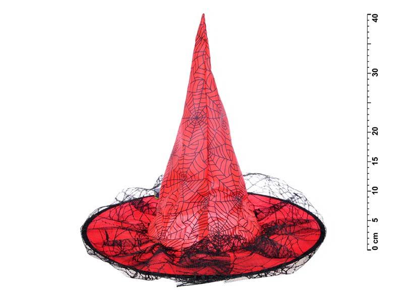 Klobúk čarodejnícky M04 červený 40 x 36 cm