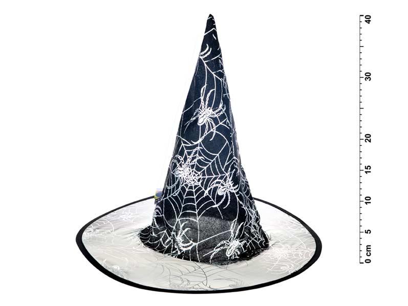 Klobúk čarodejnícky M01 čiernostrieborný 39x37cm