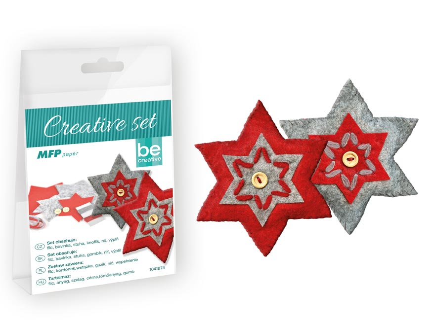 Kreatívny set - hviezda 2ks, PVC krabička