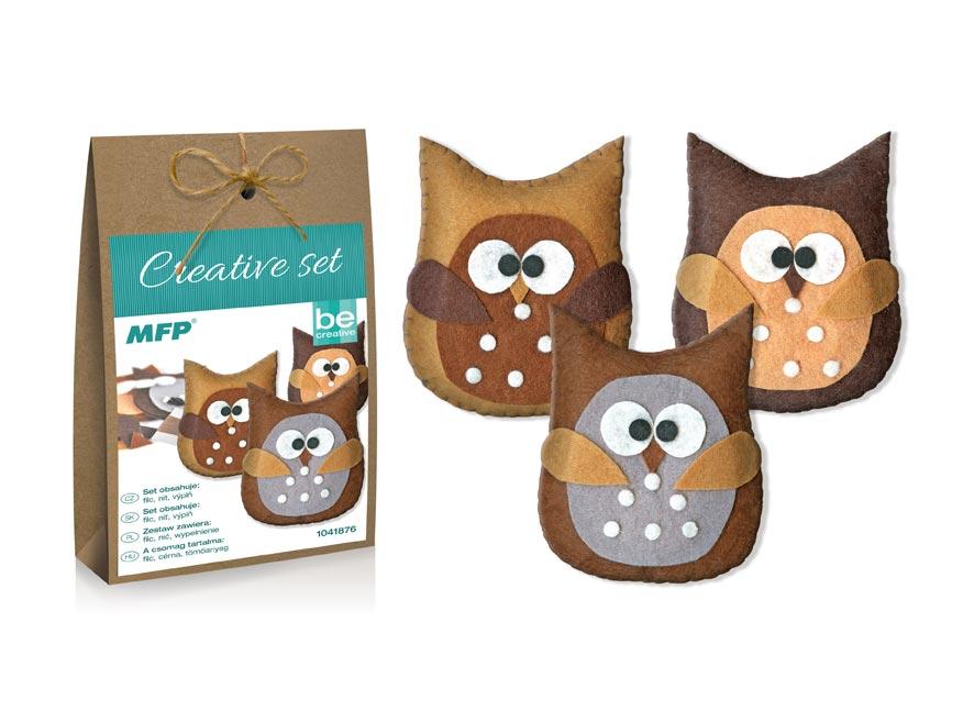 Kreatívny set - sova hnedá 3ks, papier. krabička