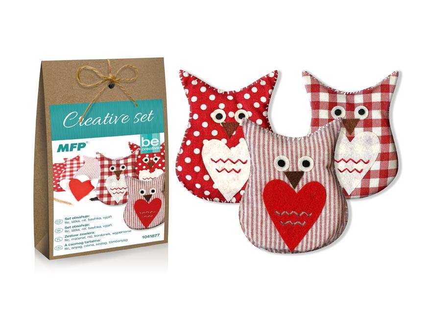 Kreatívny set - sova červená 3ks, papier. krabička