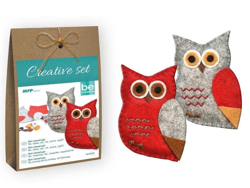 Kreatívny set - sova 2ks, papier. krabička