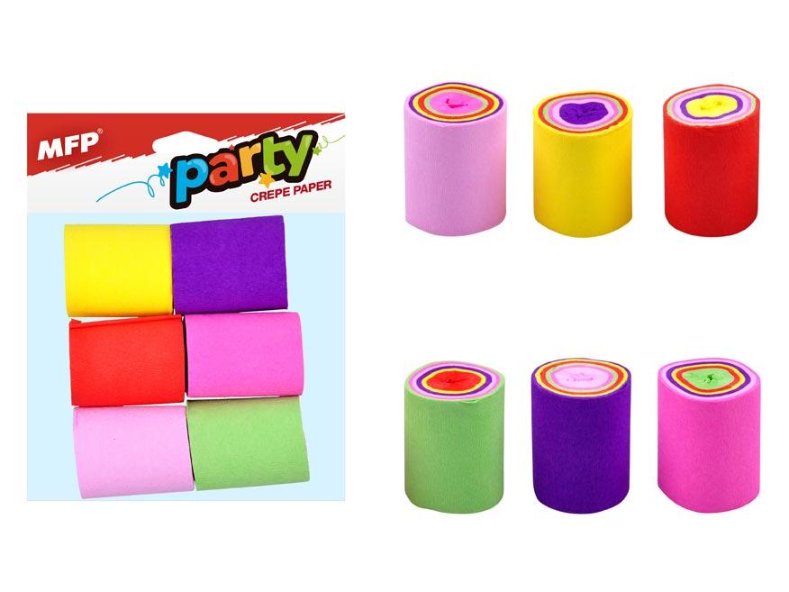 Krepový papier 6 ks farebný mix (5 x 900 cm)