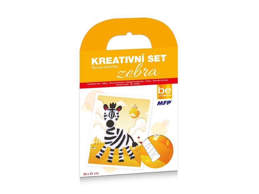 Kreatívny set - zebra - filcová technika 16x21cm
