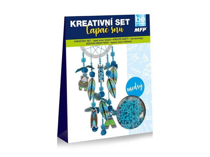 kreatívny set- lapač snov modrý