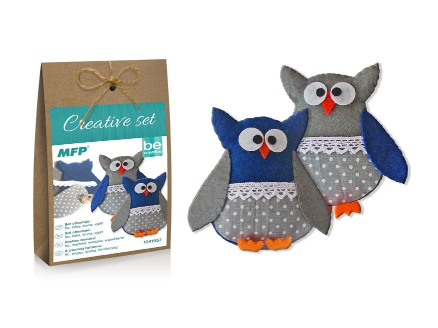 kreatívny set - sova modrá 2ks, papier.škatuľka