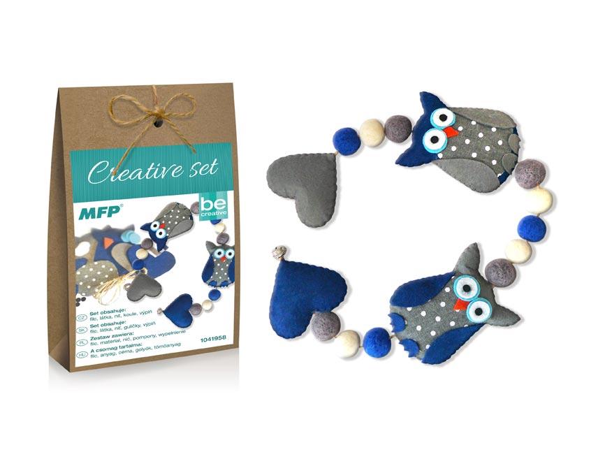 kreatívny set - girlanda sovy modrá, papier.škatuľka