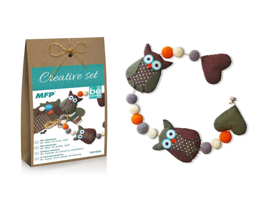 kreatívny set - girlanda sovy hnedá, papier.škatuľka