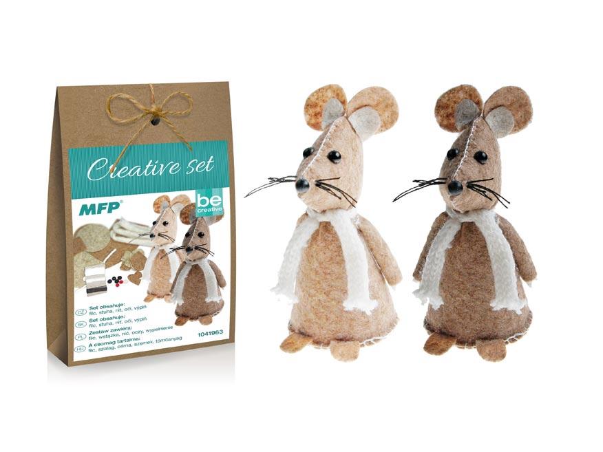 kreatívny set - myška 2ks, papier.škatuľka