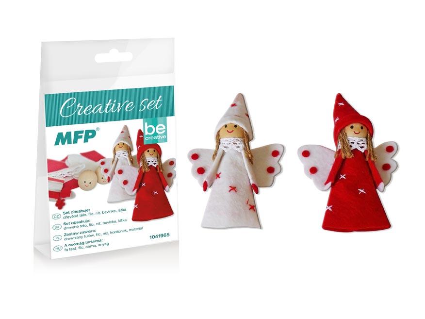 kreatívny set - anjelik s čiapkou 2ks, PVC škatuľka