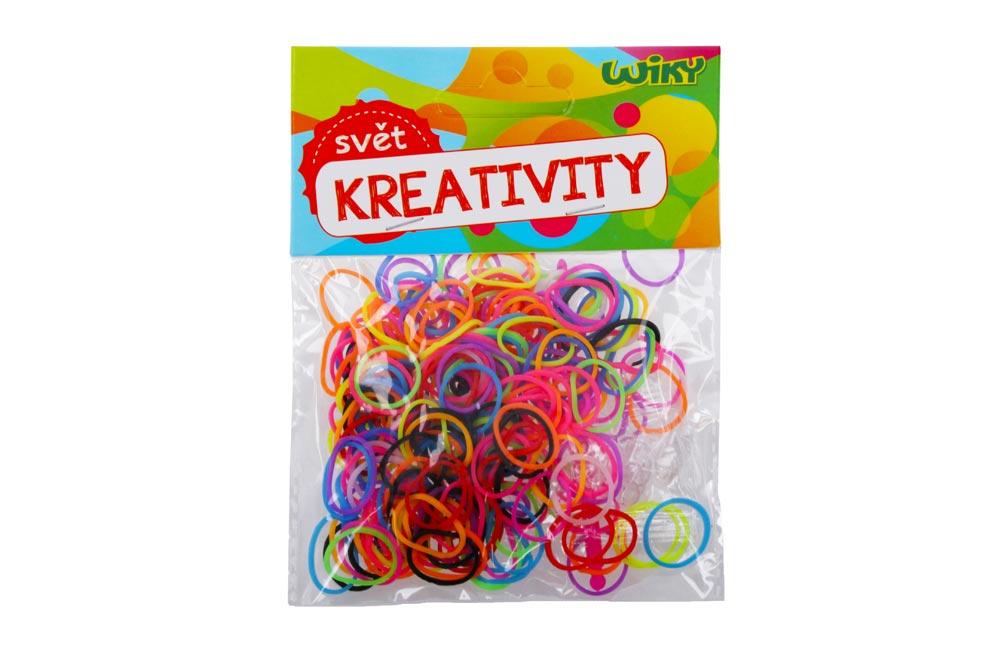 Gumičky W011587 na pletenie jednofarebné, mix farieb 200 ks