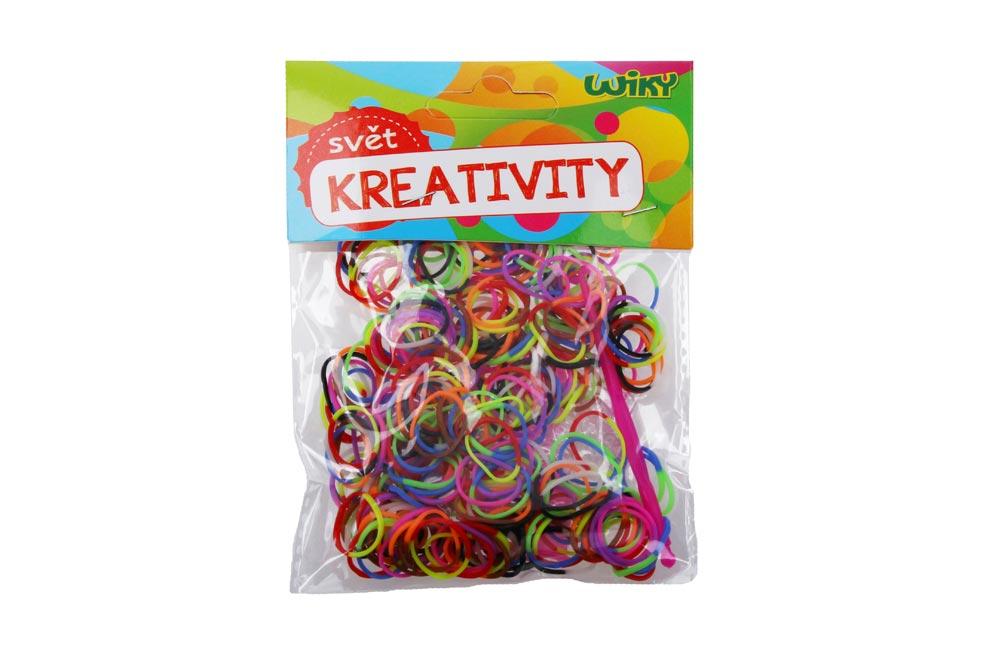 Gumičky W011589 na pletenie dvojfarebné, mix farieb 300 ks + príslušenstvo
