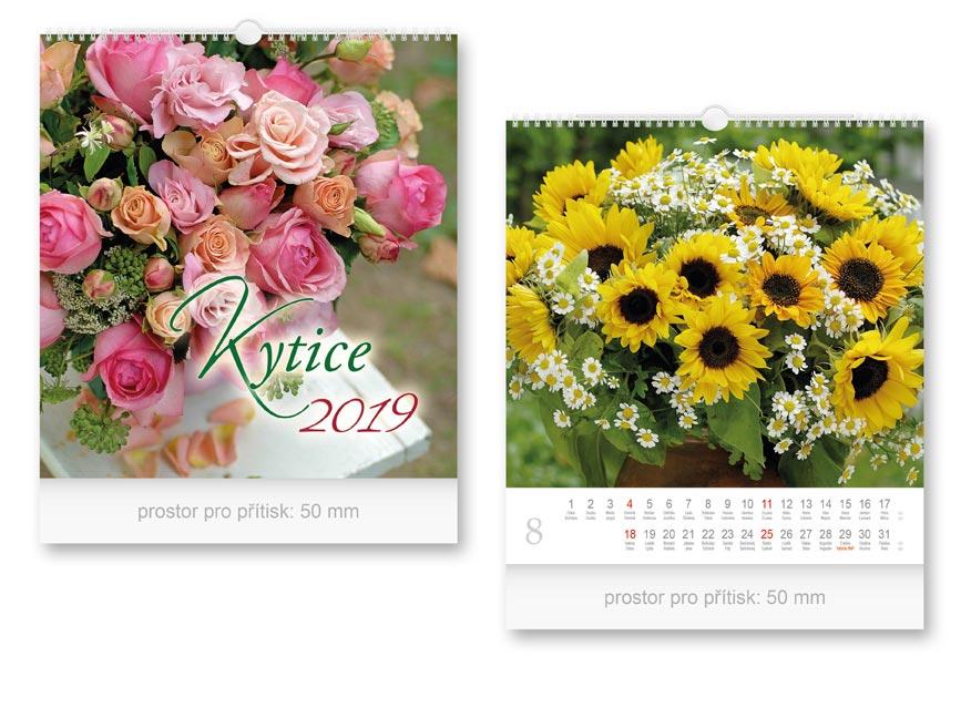 Kalendár 2019 nástenný malý kytica