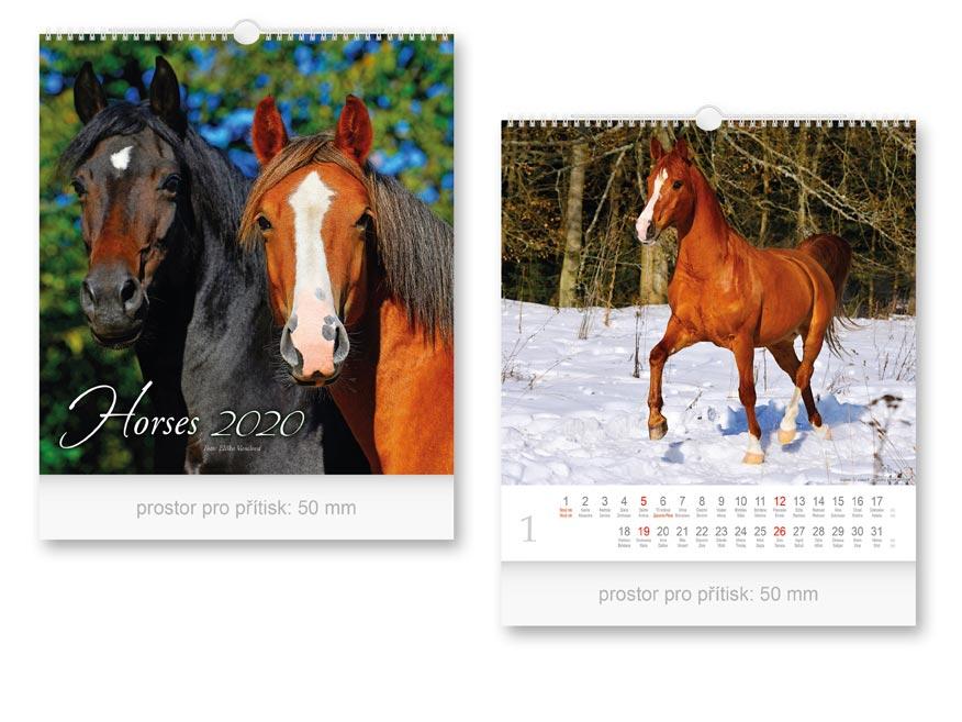 Kalendár 2020 nástenný malý Horses