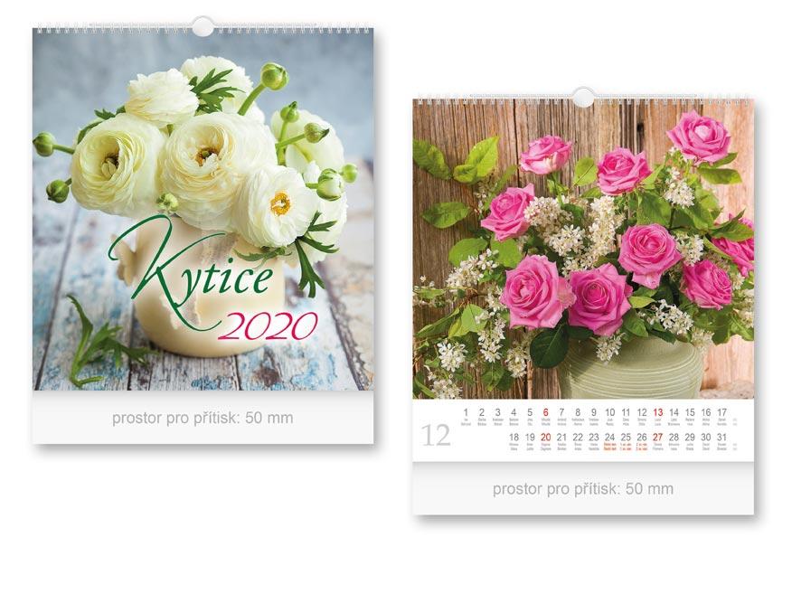 Kalendár 2020 nástenný malý kytica