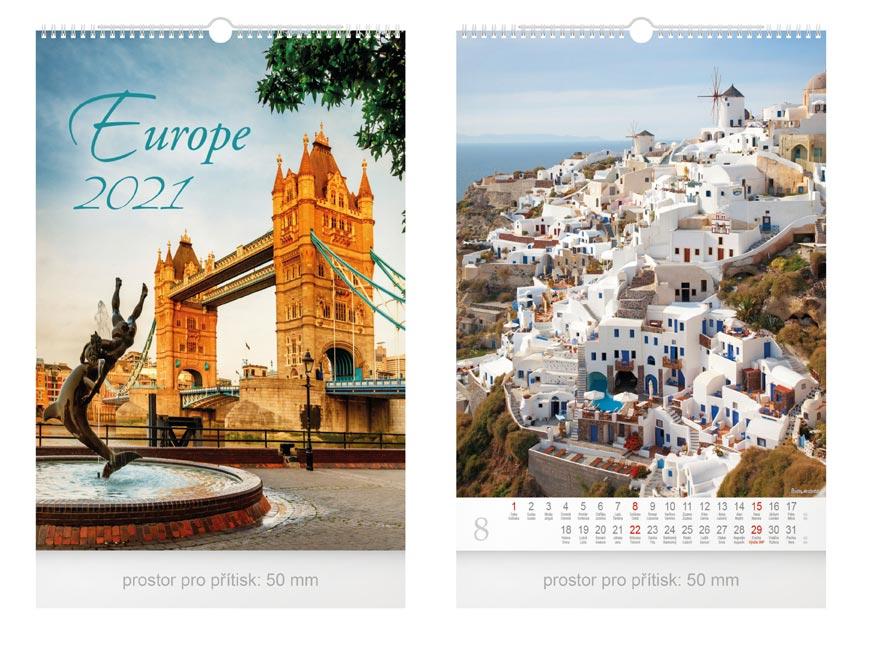 Kalendár 2021 nástenný Europe