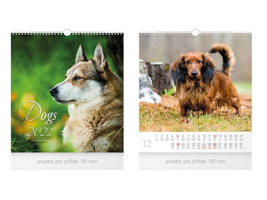 Kalendár 2021 nástenný malý Dogs