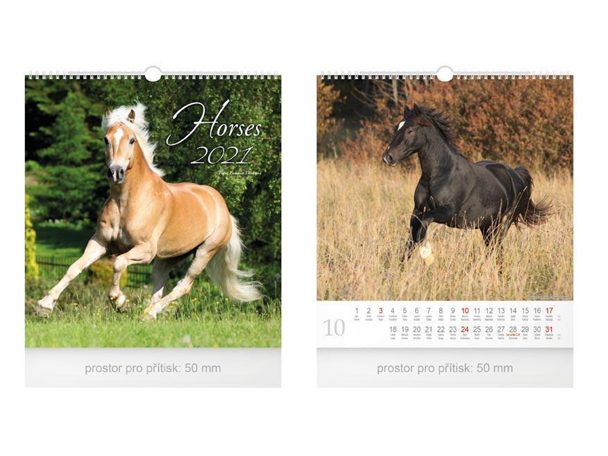 Kalendár 2021 nástenný malý Horses