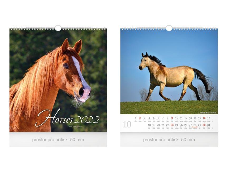 kalendár 2022 nástenný malý Horses 1061252