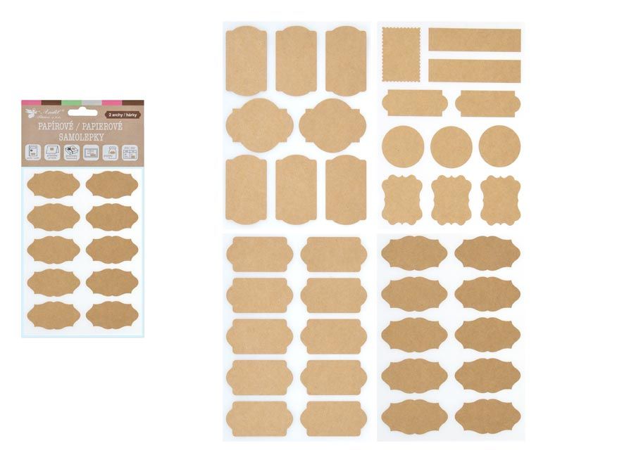 Samolepky 1313 popisovacia papierové kraft 2 hárky 18 x 13 cm