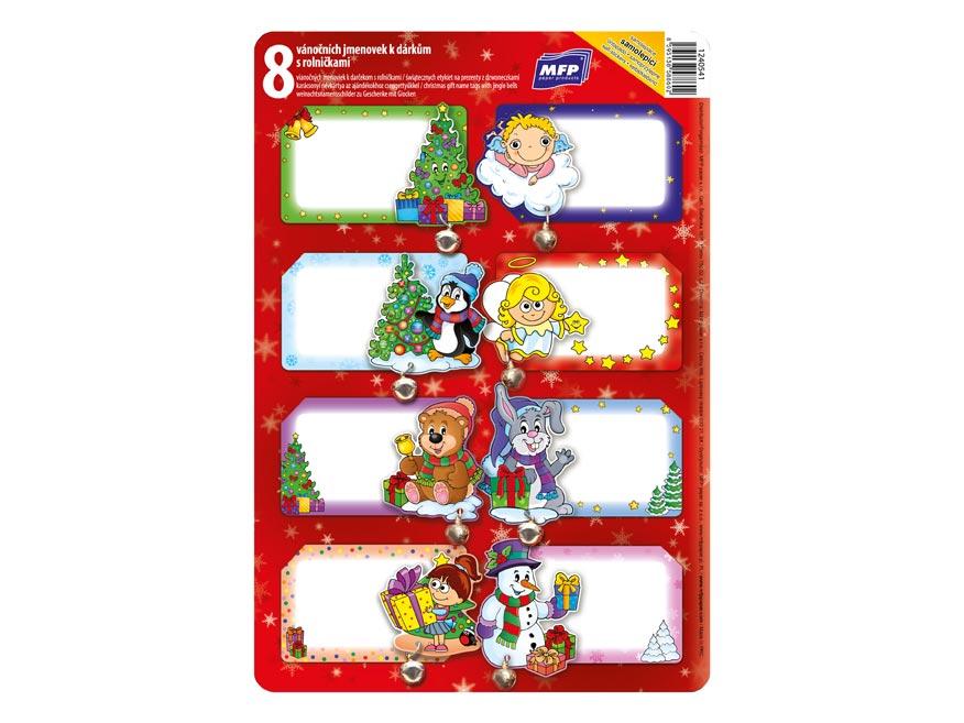 menovky na darčeky vianočné 8ks s rolničkou 1240541