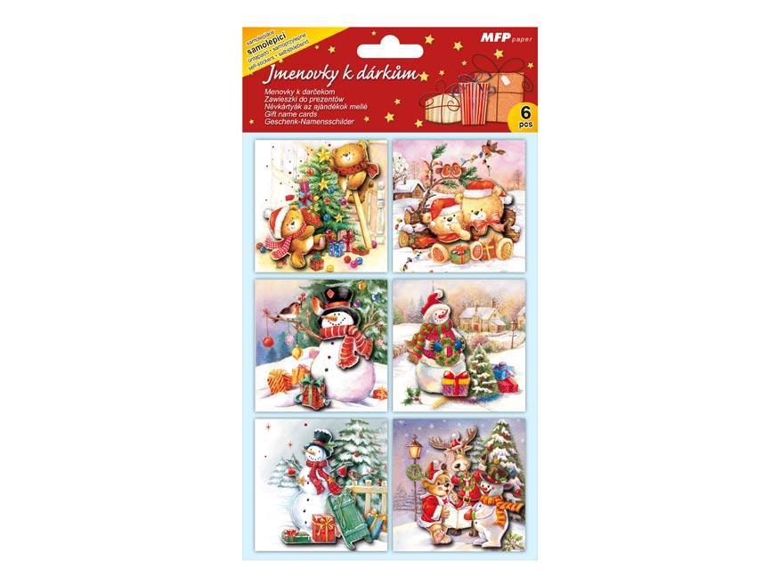 Menovky na darčeky vianočné (6ks)