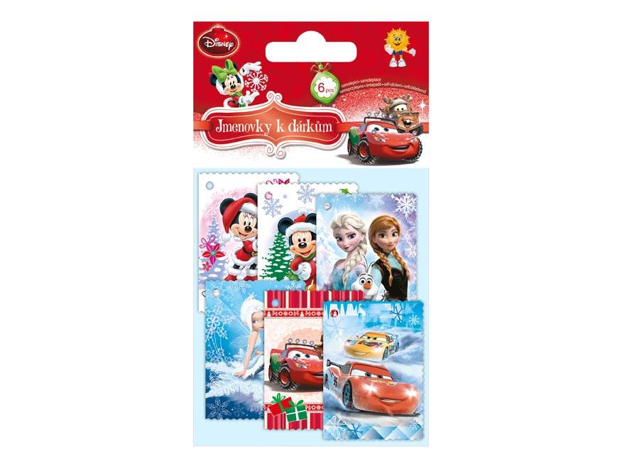 menovky na darčeky vianočné DISNEY (6ks) 1240673