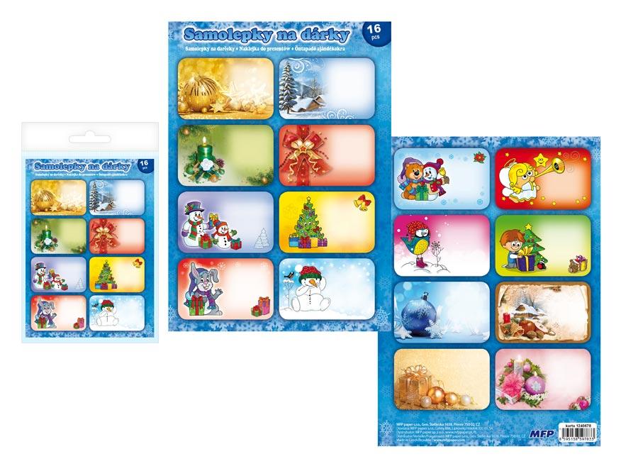 Samolepky na darčeky vianočné 16ks