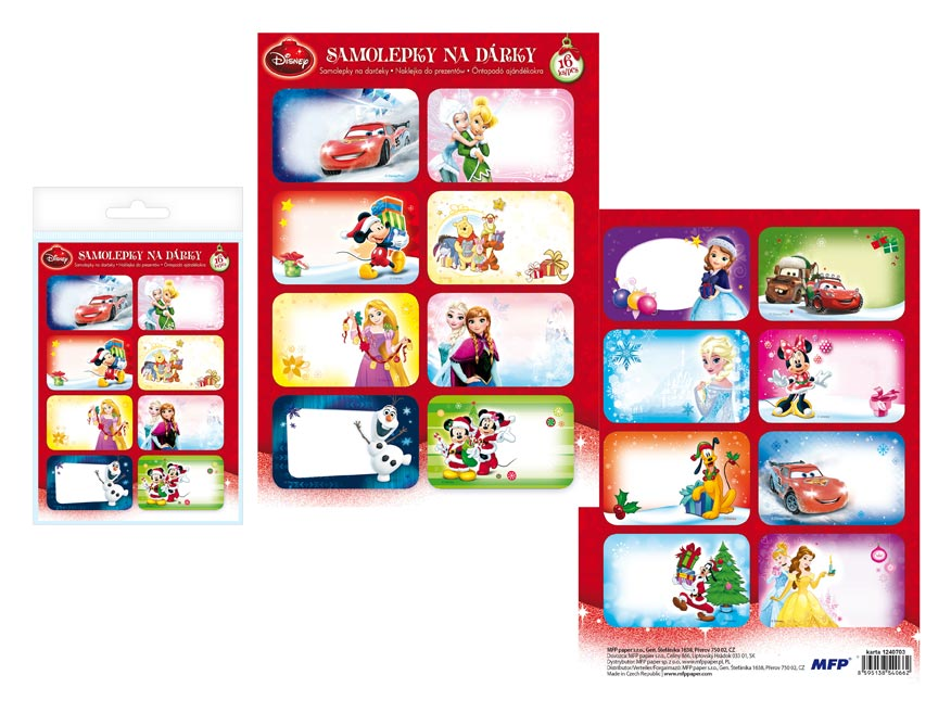 Samolepky na darčeky vianočné Disney 16ks