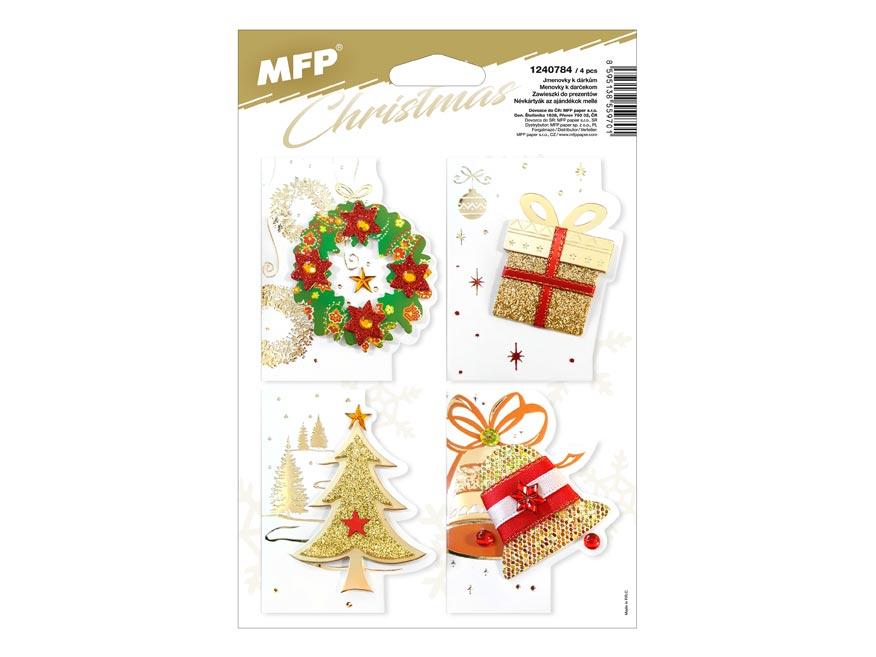 Menovky na darčeky vianočné 3D 6,5x8cm (4ks)