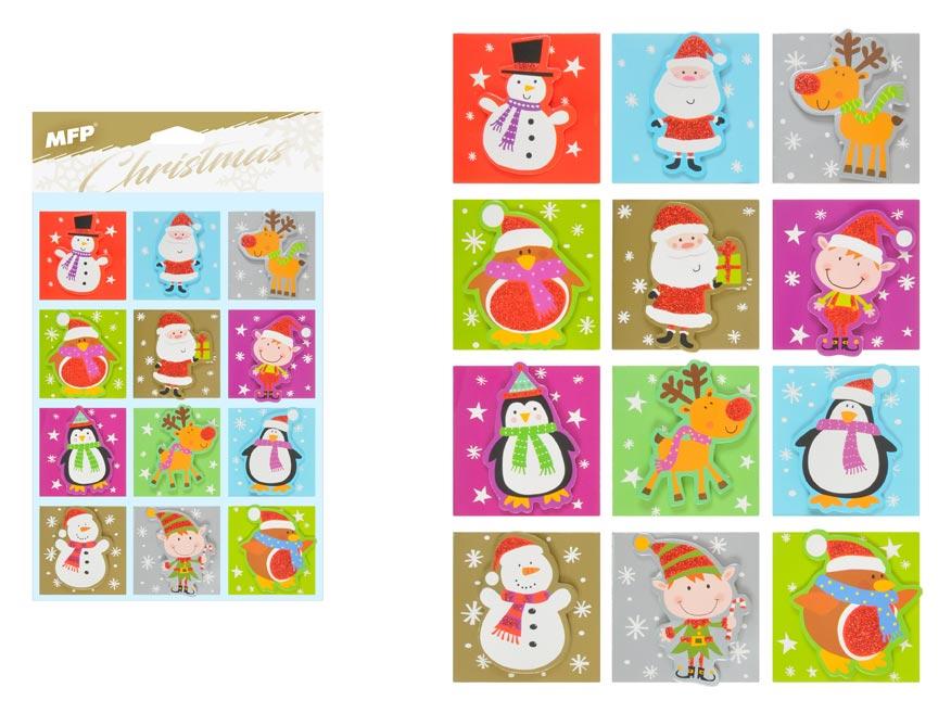 menovky na darčeky 12ks vianočné 3D gliter 1240808