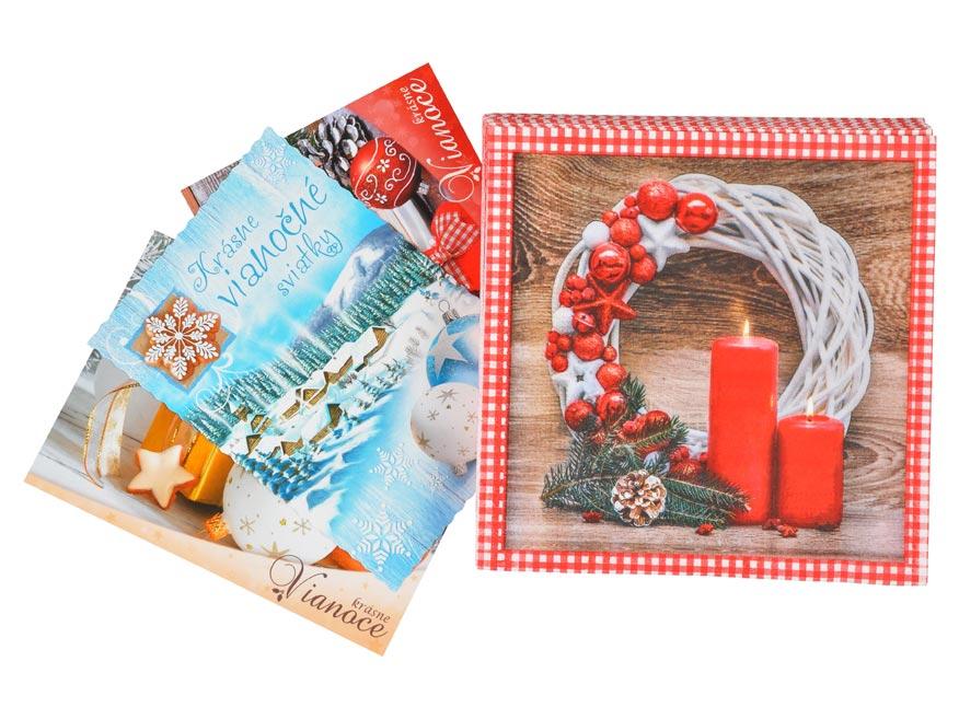 set pohľadnice vianočné 3ks + vianočné obrúsky 1240828
