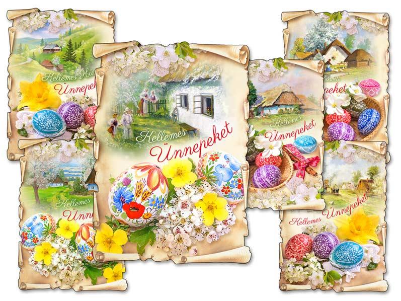 Képeslap húsvéti 097 C díszes szegély