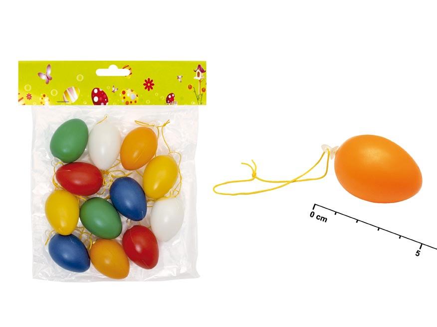 vajíčka plast jednofar.4cm 12ks mix S32081 2221006
