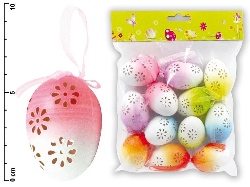 Vajíčka duhové dierky 6cm 12ks S32506