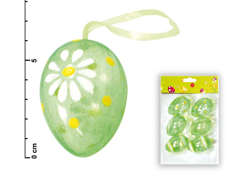 vajíčka plast 6cm/6ks zelená S34032G 2221087