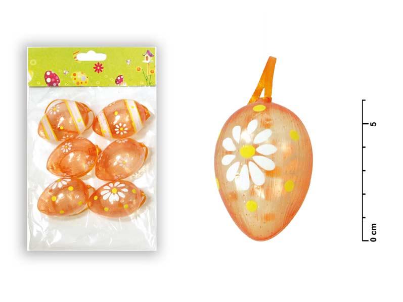 Vajíčka plast 6cm/6ks oranžová S34032O