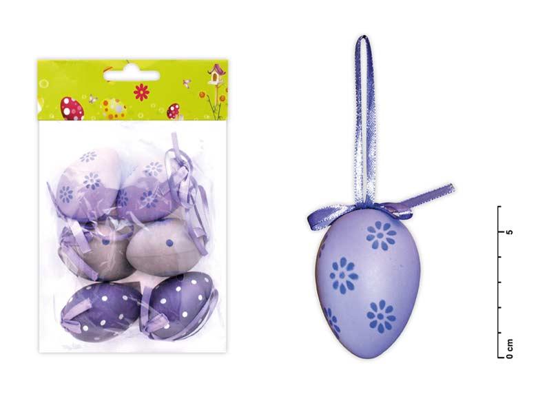 Vajíčka plast 6cm/6ks mix S150067/P