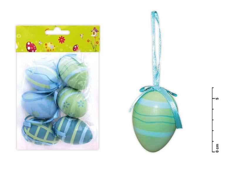 Vajíčka plast 6cm/6ks mix S150087/b