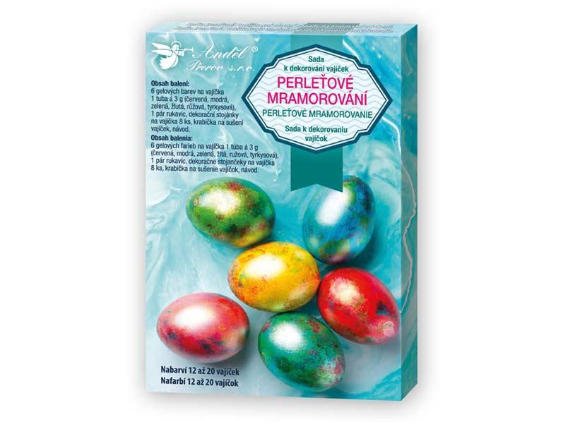 Sada 7700 na dekorovanie vajíčok - perleťový mramor